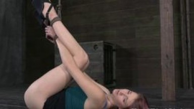 Tied up bdsm sub dildo penetrated