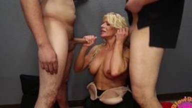 Big Tit MILF Gina West Sucks Off All The Guys at the Bl