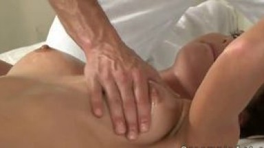 Babe gets gangbang fucked and creampie on massage table